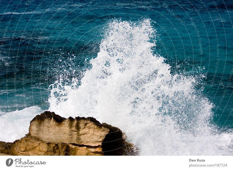 Mal so richtig austoben! Sommer Herbst Wetter Sturm Wellen Küste Meer Mittelmeer kämpfen spritzen Gischt hochspritzen Felsen Brandung fels in der brandung blau