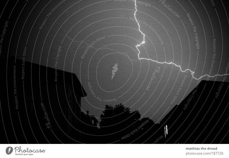 ZORN DES ZEUS Umwelt Natur Urelemente Gewitterwolken Nachthimmel Sommer Klima Wetter schlechtes Wetter Sturm Regen Blitze Baum Stadt Bauwerk Gebäude dunkel kalt