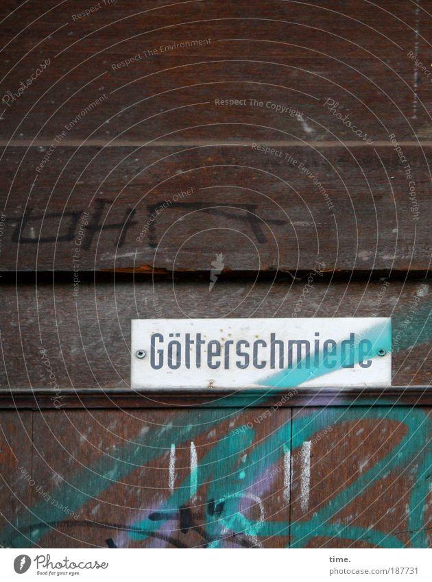 Weihnachtskrippenersatz Tür Rahmen Strukturen & Formen Schilder & Markierungen Farbe Farbstoff Graffiti Schraube Eingang Hafenstraße braun grün Schmiererei Tag