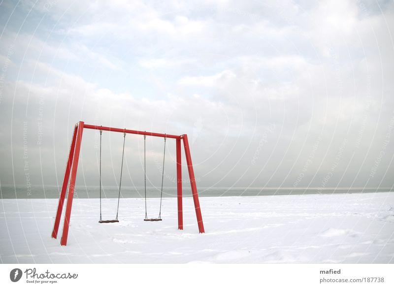 Sommerspaß Himmel weiß Meer rot Winter Strand Wolken Schnee Spielen grau Eis Horizont Frost Ostsee Sommerurlaub