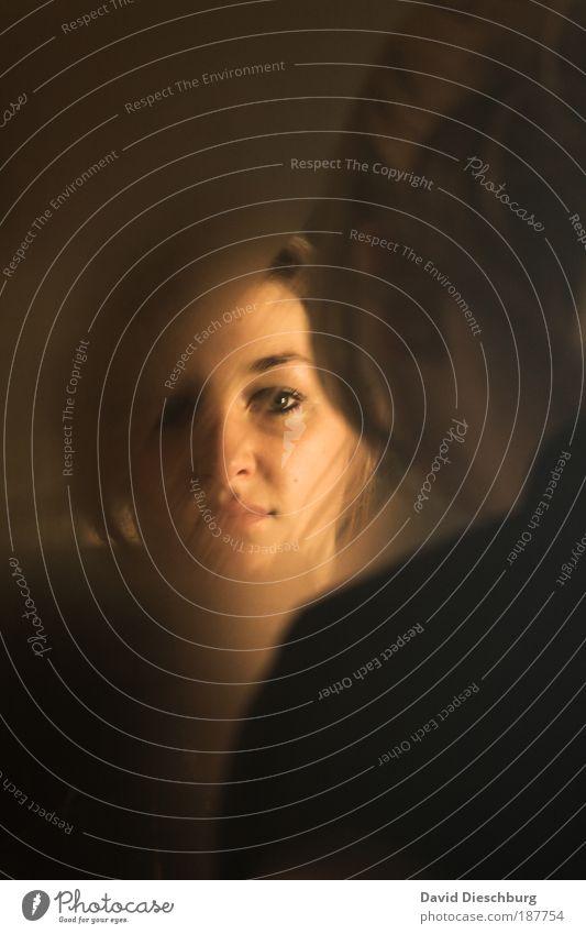 Das zweite Gesicht feminin Junge Frau Jugendliche Kopf Haare & Frisuren 1 Mensch 18-30 Jahre Erwachsene schön braun schwarz Spiegel Spiegelbild Blick
