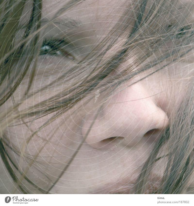 Inside's Outsight Frau feminin Haare & Frisuren Haarsträhne Auge Nase Oberlippe Mund Blick Wind verweht Spielen Farbfoto Außenaufnahme frontal verträumt