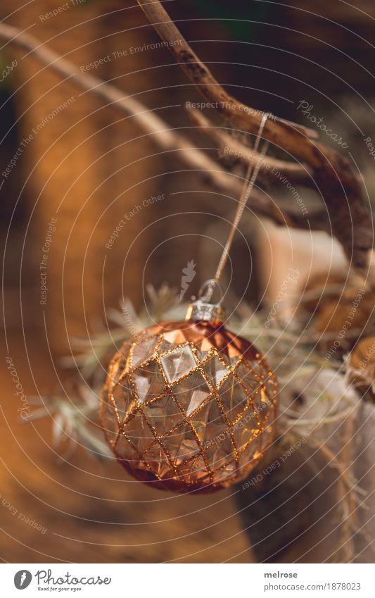 goldene Kugel elegant Stil Winter Pflanze Zweige u. Äste Weihnachten & Advent Christbaumkugel Weihnachtsdekoration Baumschmuck Dekoration & Verzierung glänzend
