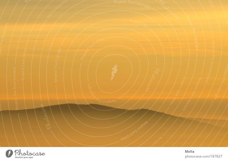 Zweitlieblingsaussicht Natur Himmel ruhig Ferne gelb Berge u. Gebirge Freiheit Landschaft Luft orange Nebel Wetter Umwelt frei Horizont Aussicht