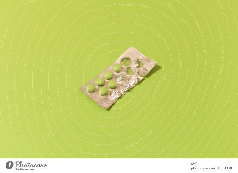 Pillen grün Gesundheit Gesundheitswesen ästhetisch einfach Krankheit Medikament Arzt Rauschmittel Verpackung silber Krankenhaus Krankenpflege Tablette Allergie