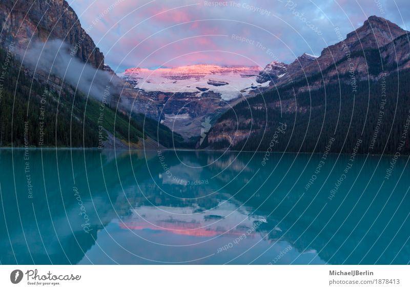 Sonnenaufgang über dem Gletscher hinter Lake Louise, Kanada Natur Landschaft Wasser Sonnenuntergang Seeufer Lake Luise natürlich schön Banff National Park