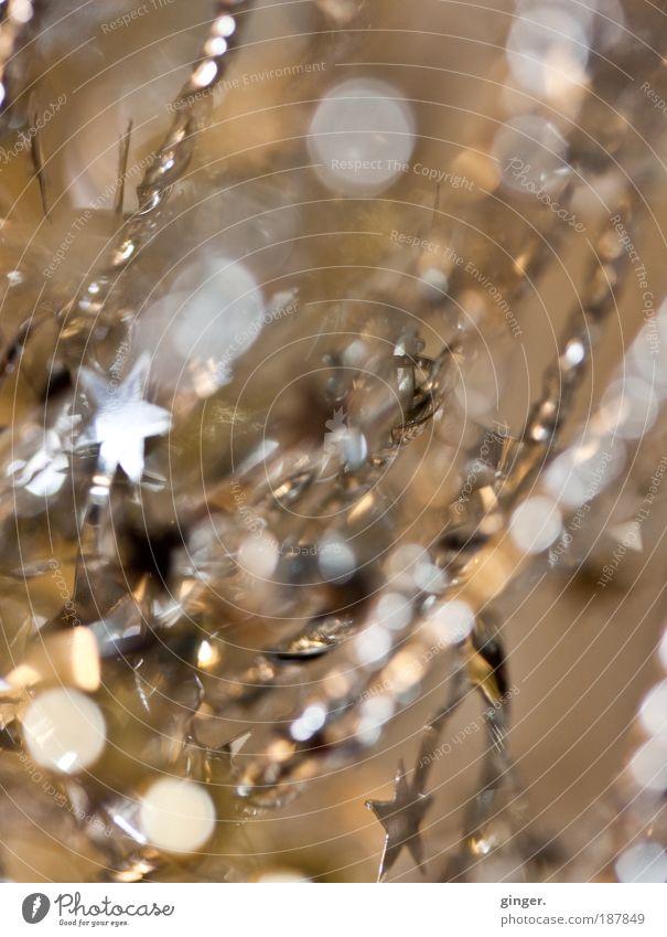 Sternchen und Pünktchen Weihnachten & Advent gold glänzend Dekoration & Verzierung Stern (Symbol) Schnur Kitsch Textfreiraum silber verschönern