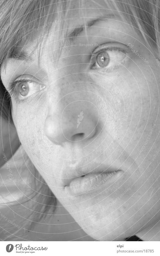 portre Frau Gesicht Schwarzweißfoto auschnit woman