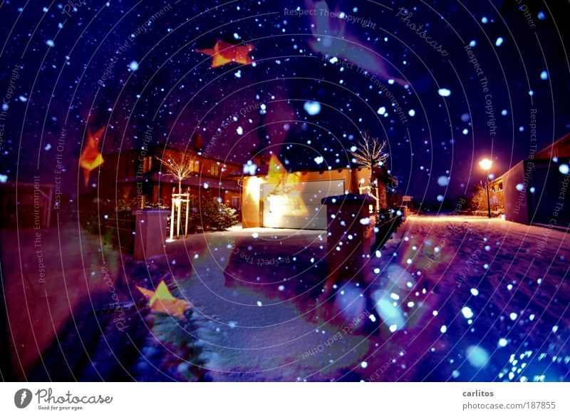 Mein erstes, einziges und letztes Weihnachtsbild Weihnachten & Advent blau Freude Nacht kalt Erholung Belichtung Natur Licht träumen Farbe Dekoration & Verzierung Schneefall Wärme Zufriedenheit Stimmung