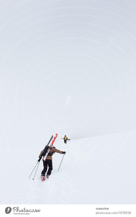 Backcountry-Skifahrer zu Fuß bis zum Gipfel des Berges Abenteuer Winter Schnee Berge u. Gebirge Sport Mann Erwachsene Nebel weiß alpin Rucksack kalt Europa