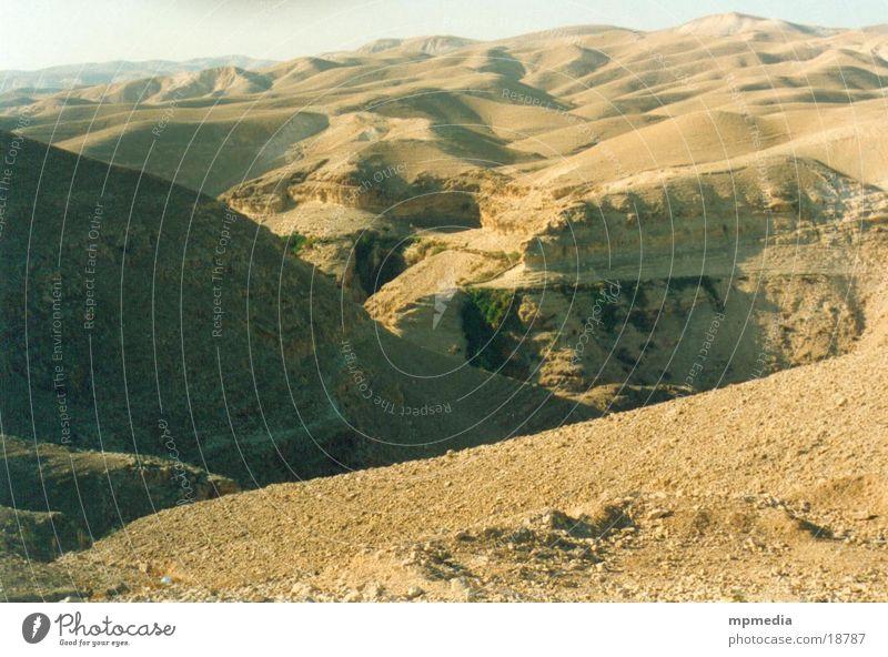 Wüstelandschaft in Israel Sand Sonne Wärme Düne Dürre Furche Tal Ferne Erosion Menschenleer Außenaufnahme Farbfoto