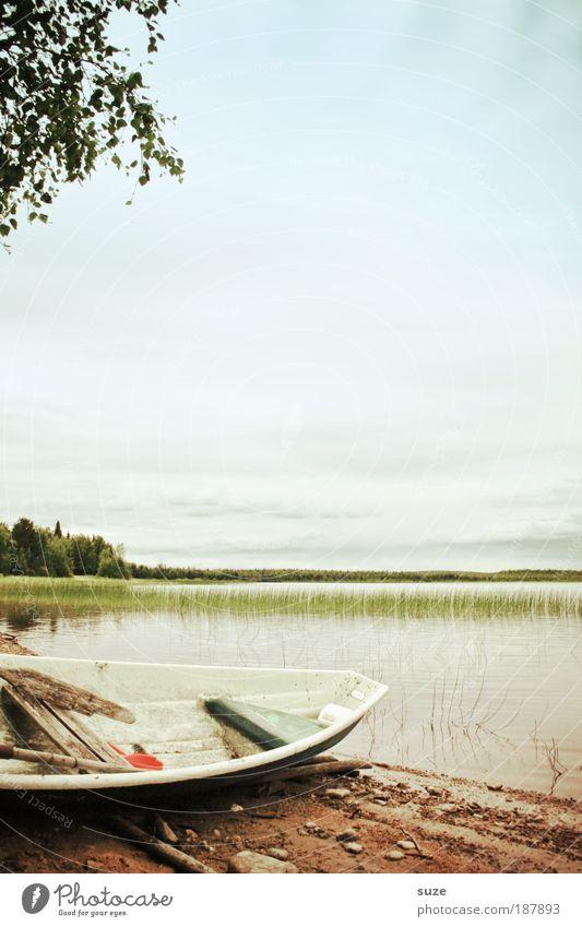 Ruhetag Himmel Natur Wasser Ferien & Urlaub & Reisen Pflanze Sommer Einsamkeit Umwelt Landschaft See träumen Horizont Wasserfahrzeug Freizeit & Hobby warten liegen