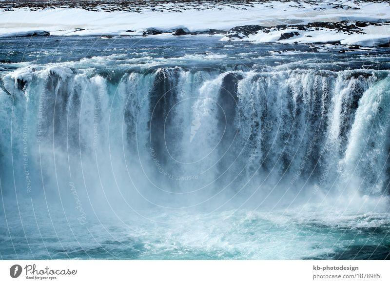 Closeup of frozen waterfall Godafoss in Iceland Ferien & Urlaub & Reisen Tourismus Abenteuer Ferne Sightseeing Natur Fluss Wasserfall Island icy Europa big huge