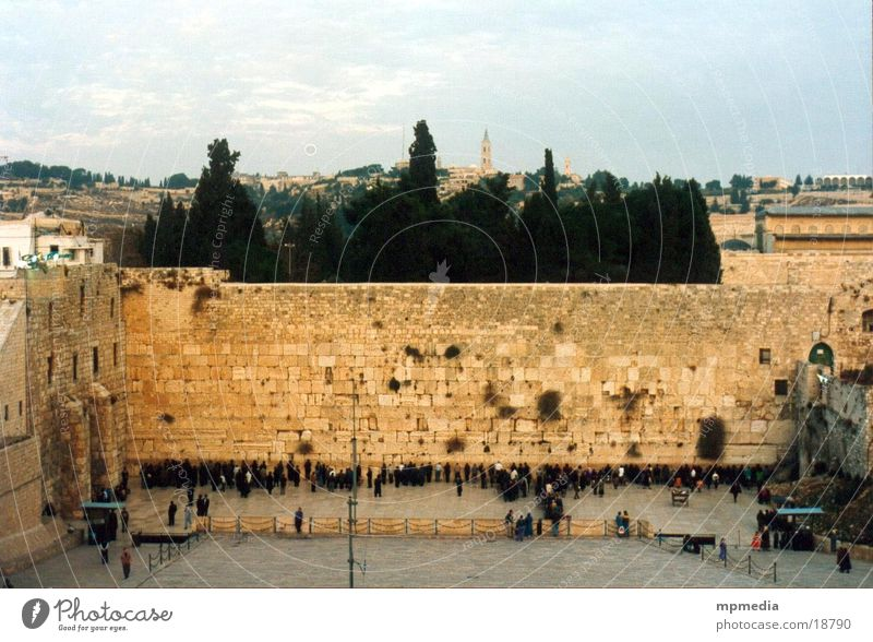 Klagemauer am Abend Israel Jerusalem Israelis Gebet Wunsch Religion & Glaube Erfolg Tempelberg Judentum Außenaufnahme