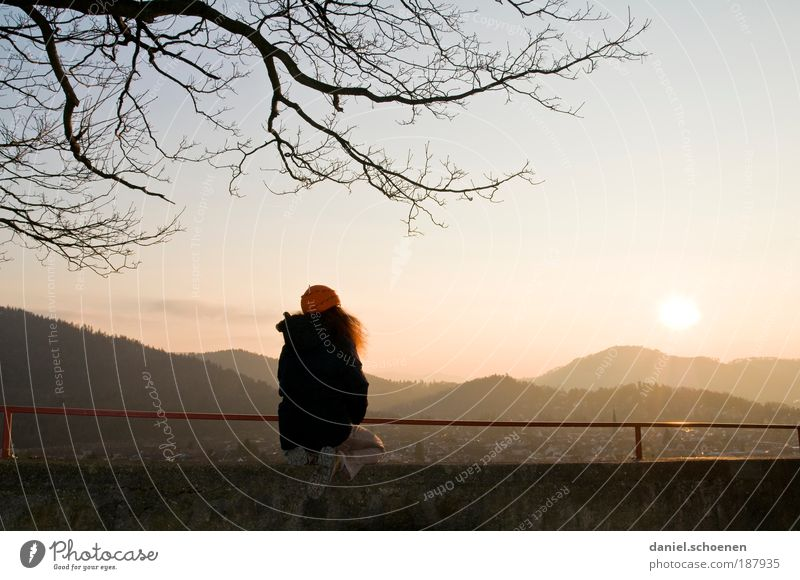 über den Dächern von Freiburg Mensch feminin Junge Frau Jugendliche Erwachsene 18-30 Jahre Wolkenloser Himmel Schönes Wetter rothaarig beobachten Erholung
