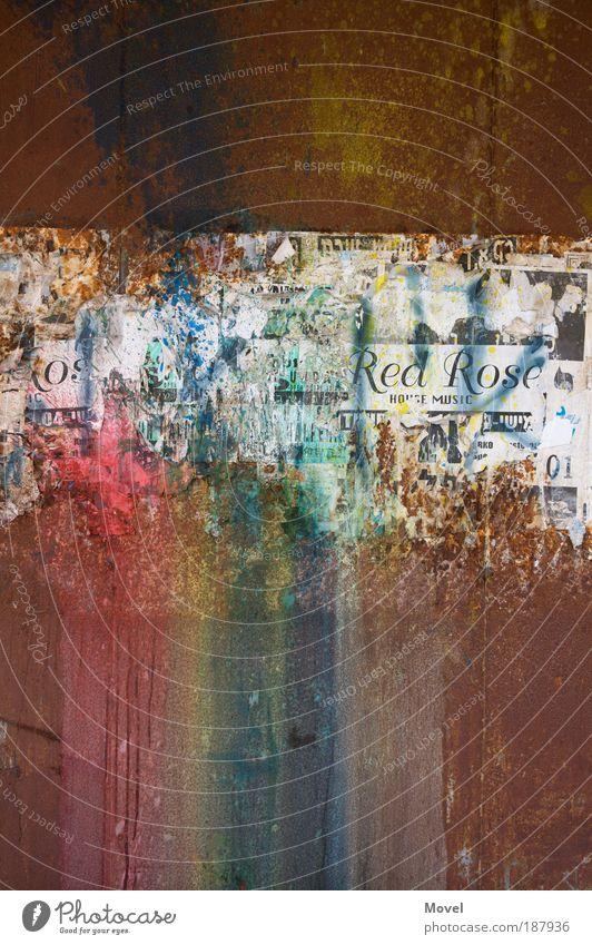 dusty rainbow Entertainment Kunst Veranstaltung Konzert Printmedien Tel Aviv Israel Stadtrand Ruine Mauer Wand Fassade Papier Metall Rost Zeichen Schriftzeichen