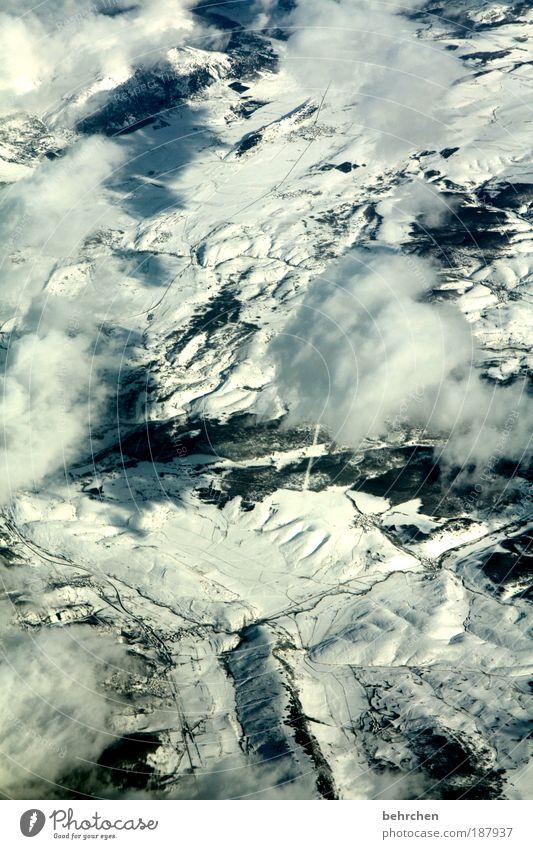 zugedeckt Himmel Natur Ferien & Urlaub & Reisen Wolken Winter Ferne Schnee Freiheit Umwelt Berge u. Gebirge Landschaft Eis Erde Ausflug fliegen Flugzeug