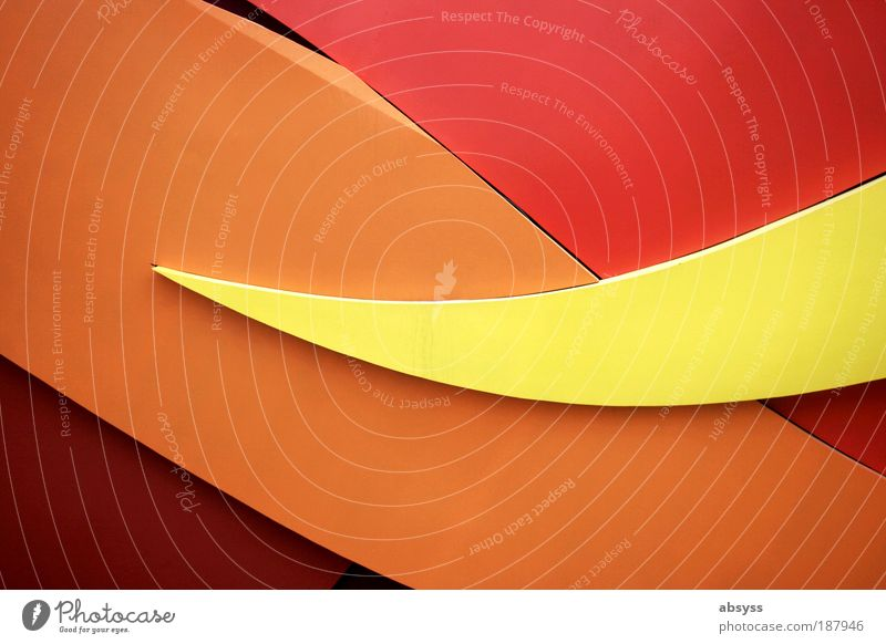 static waves Architektur Mauer Wand Fassade dreckig modern gelb rot ästhetisch Bewegung Fortschritt Kunst Wandel & Veränderung Wellenform Kurve