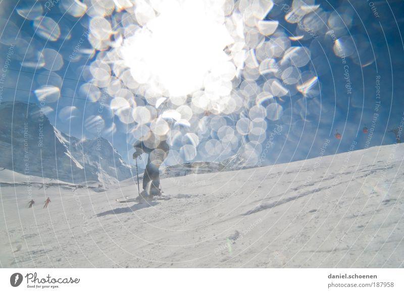 voll auf die Linse weiß Sonne blau Winter Ferien & Urlaub & Reisen Sport Gegenlicht Schnee Berge u. Gebirge Eis Frost Tourismus Freizeit & Hobby Schweiz Aktion Alpen