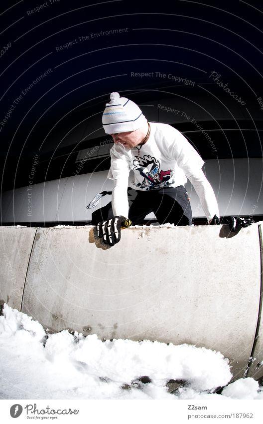 spotbesichtigung Mensch Jugendliche Mann Junger Mann dunkel kalt Erwachsene Schnee Stil Sport maskulin Freizeit & Hobby Ecke Coolness T-Shirt sportlich