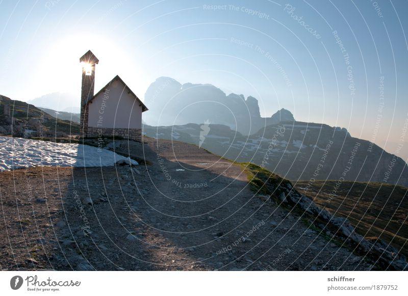 Transzendenz | des Morgens Natur Sonne Landschaft Berge u. Gebirge Religion & Glaube Umwelt Beleuchtung Wege & Pfade Gebäude außergewöhnlich Felsen Eis Kirche