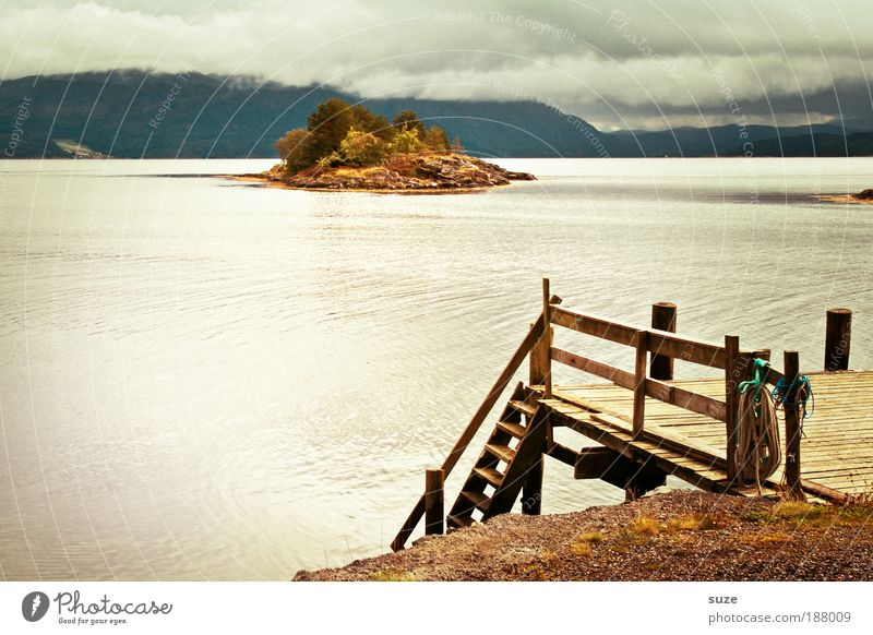 Am Steg ruhig Ferien & Urlaub & Reisen Tourismus Ferne Meer Insel Umwelt Natur Landschaft Urelemente Wolken Sommer Klima Wetter Berge u. Gebirge Seeufer