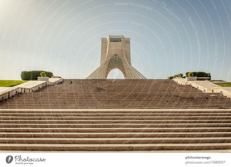 National Monument Teheran Himmel Ferien & Urlaub & Reisen Sommer Stadt Sonne Freude Ferne Architektur Gebäude Freiheit Tourismus Fassade Treppe Ausflug Platz