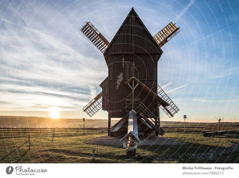 Windmühle und sonnige Landschaft Getreide Landwirtschaft Forstwirtschaft Handwerk Technik & Technologie Mühle Umwelt Natur Himmel Wolken Sonne Sonnenaufgang