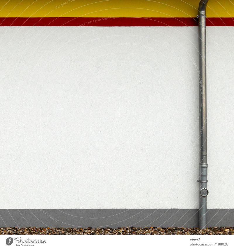farbenfroh. rot Haus Ferne gelb Wand Mauer Stein Linie Fassade Beton Ordnung Design modern authentisch Streifen einzigartig