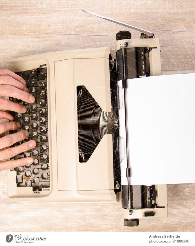 Schreib mal wieder Büro retro Inspiration Hintergrundbild creative desk journalism Journalist keyboard letter literature machine man nostalgia novel old press
