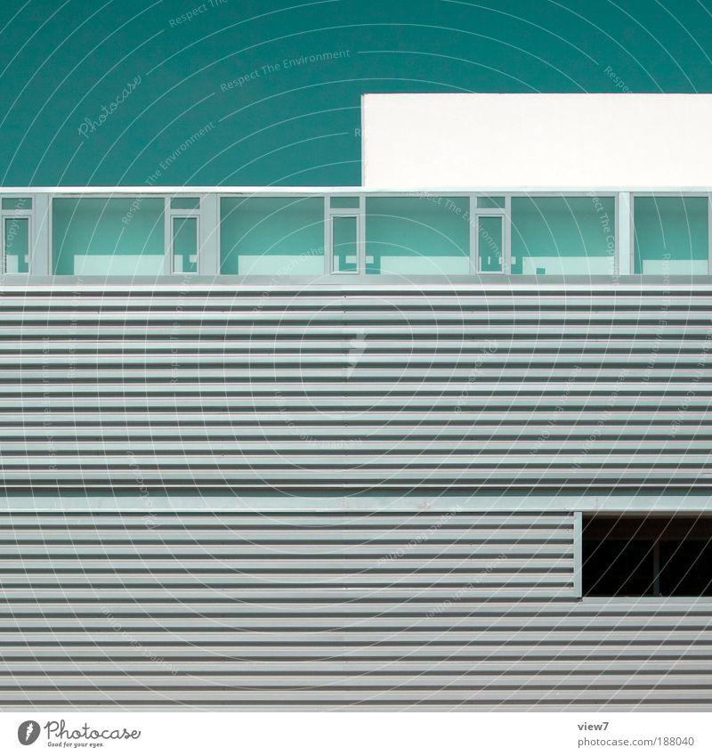 architektonisch. Haus Ferne Wand Fenster Stein Mauer Metall Linie Fassade Beton Ordnung Design modern ästhetisch Bürogebäude Zukunft