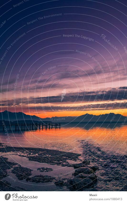 Chiemsee Sonnuntergang Chieming Umwelt Natur Landschaft Wasser Himmel Nachthimmel Sonnenaufgang Sonnenuntergang Schönes Wetter Alpen Wellen Seeufer träumen