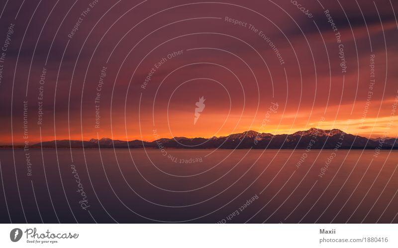 Chiemsee Sonneuntergang bei Sturm Kunst Umwelt Natur Landschaft Luft Wasser Himmel Wolken Gewitterwolken Horizont Sonnenaufgang Sonnenuntergang Sonnenlicht