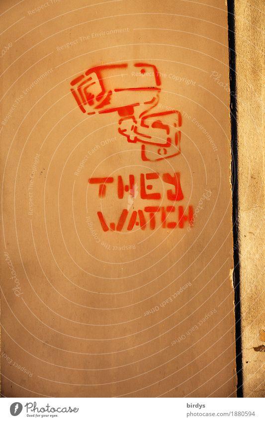 ...you ! Mauer Wand Fassade Überwachungskamera Überwachungsstaat Zeichen Schriftzeichen Graffiti beobachten Neugier braun gelb rot Akzeptanz Sicherheit Schutz