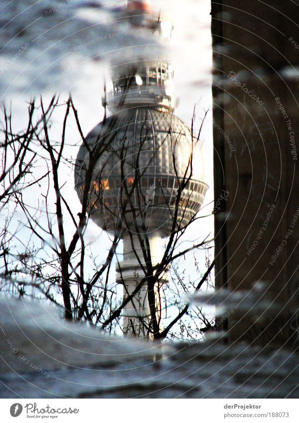 Pfützen-Alex schön Stadt grau Stein Metall Architektur Glas Berlin Tiefenschärfe hoch Turm Stahl Denkmal Bauwerk historisch