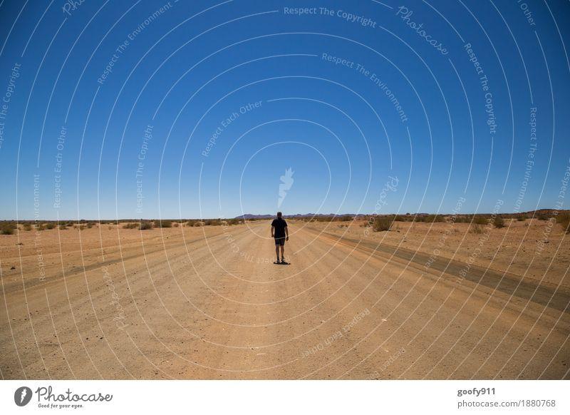 Endlose Weite Ferien & Urlaub & Reisen Abenteuer Ferne Freiheit Sommer Sonne Mensch maskulin Mann Erwachsene Leben Körper 1 Umwelt Natur Landschaft Erde Sand