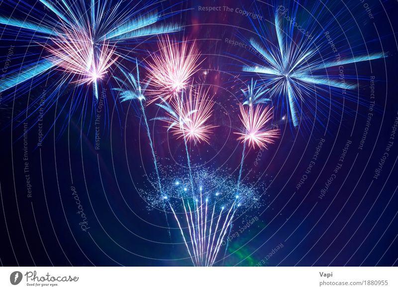 Schönes Feuerwerk Himmel blau Weihnachten & Advent Farbe weiß rot Freude dunkel schwarz gelb Freiheit Feste & Feiern Party orange rosa hell