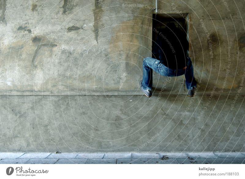 einsteiger Mensch Mann Haus Erwachsene Fenster Freiheit maskulin Häusliches Leben Politik & Staat Klettern Kapitalwirtschaft gefangen Justizvollzugsanstalt Dieb