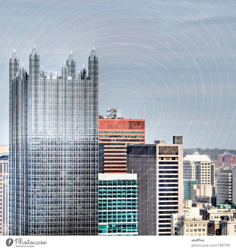 Tower Pittsburgh USA Stadtzentrum Skyline Hochhaus Bankgebäude Fassade Glas Stahl hoch modern Business HDR Farbfoto mehrfarbig Außenaufnahme Menschenleer