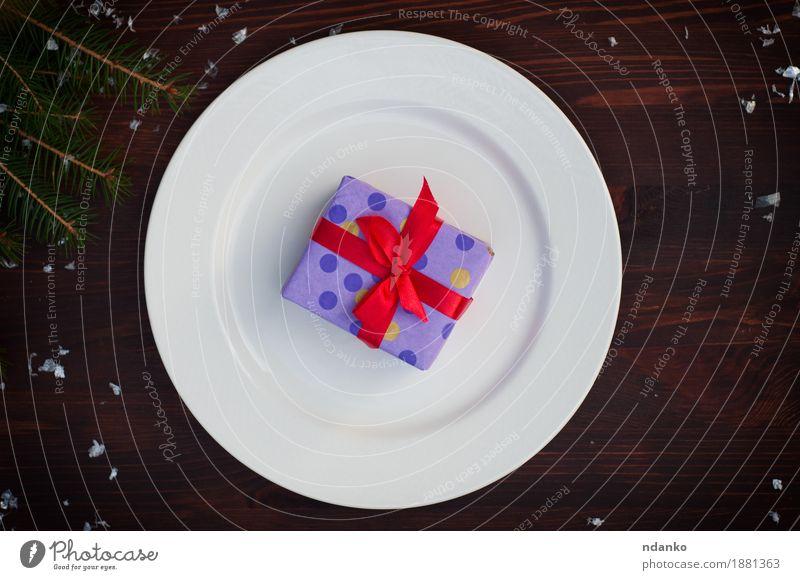 Weihnachten & Advent weiß rot Winter Speise Schnee Holz braun oben Metall retro Aussicht Tisch Platz Geschenk Sauberkeit