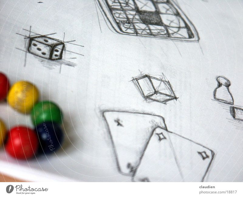 scribble mehrfarbig Gemälde Fototechnik Schwarzweißfoto Kugel speilzeug Zeichnung beistift Würfel
