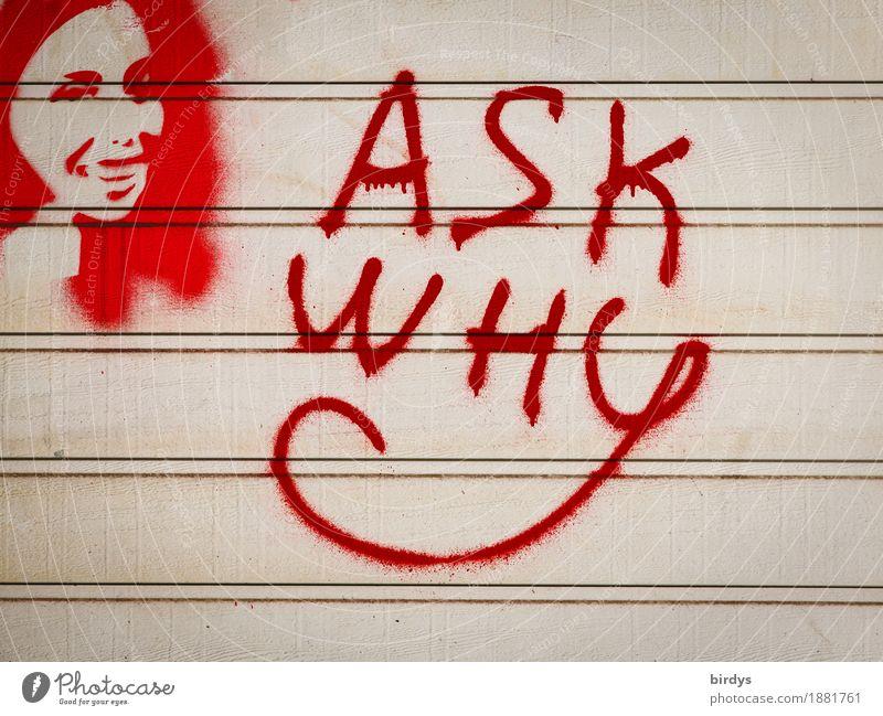 und die Antwort folgt Frau Erwachsene Kopf Gesicht 1 Mensch Graffiti Schriftzeichen Linie Kommunizieren lachen Erfolg Freundlichkeit positiv grau rot Mut