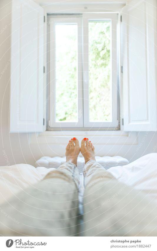 Fenster zum Hof Wohlgefühl Zufriedenheit Erholung ruhig Häusliches Leben Wohnung Schlafzimmer feminin Frau Erwachsene Beine Fuß 1 Mensch liegen hell Zehen