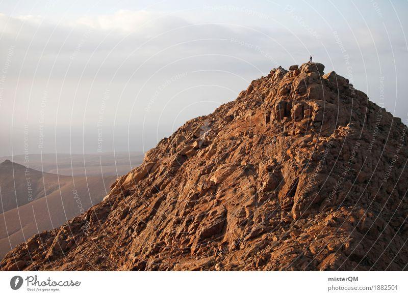 oben. Berge u. Gebirge klein Kunst Erde wandern ästhetisch hoch Gipfel Spanien Klettern Spitze steinig Fuerteventura Marslandschaft Höhepunkt