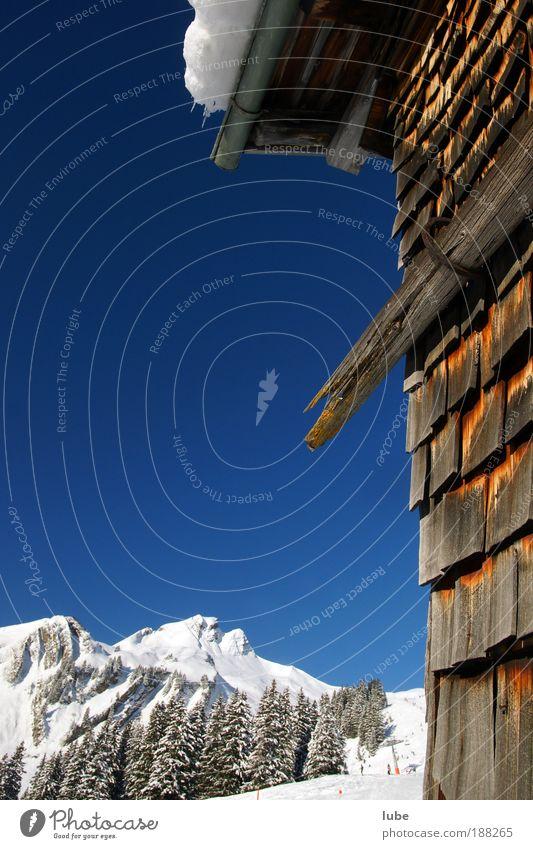 Hütte in Damüls Himmel Natur blau Ferien & Urlaub & Reisen Winter Haus Landschaft kalt Schnee Wand Berge u. Gebirge Holz Mauer Eis Wetter Fassade