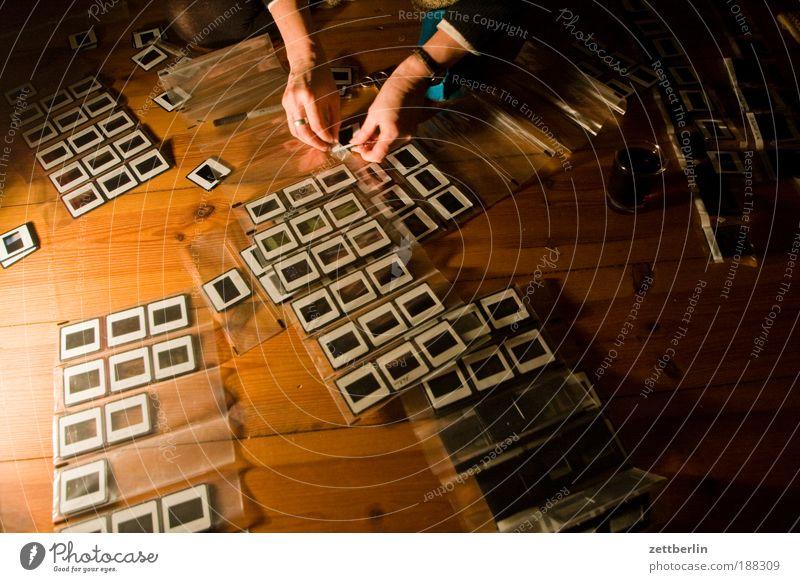 Archiv Dia diapositive negativ Filmindustrie Filmmaterial analog Sammlung Ordnung sortieren ausbreiten Suche Auswahl Kunstgalerie Bild Fotografie Hand Finger