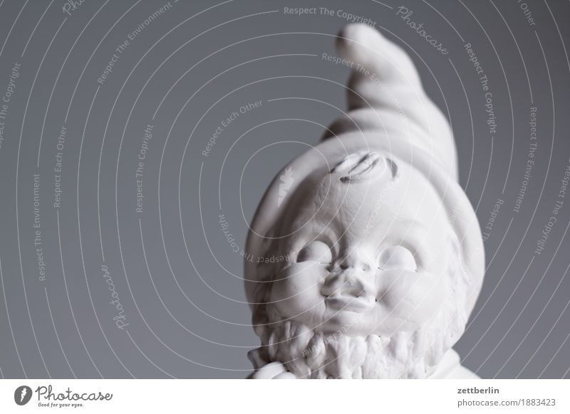 Gartenzwerg von vorn Volksglaube Deutsch Figur Gartenzwerge Kitsch Menschenleer Märchen fantastisch Textfreiraum weiß Spitze Nikolausmütze Zwerg Statue Mütze