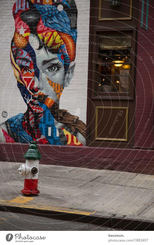 in den strassen von nyc. Frau Stadt schön Haus Fenster Gesicht Erwachsene Straße Wand Leben Wege & Pfade feminin Mauer Kunst außergewöhnlich Party