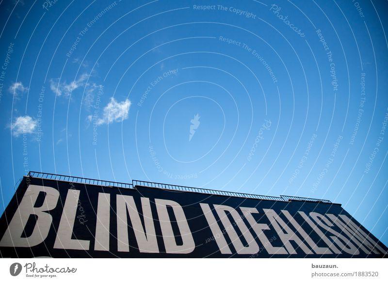 von hier an blind in nyc. Kunst New York City USA Stadt Schriftzeichen Hinweisschild Warnschild beobachten bedrohlich blau Gefühle Erfolg beweglich vernünftig