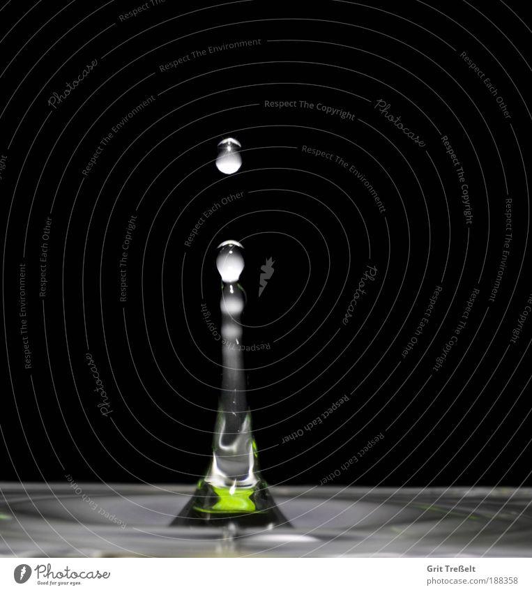 Platsch... Wasser Wassertropfen Regen Tropfen Flüssigkeit nass grau grün schwarz silber weiß ruhig Reinheit einzigartig Erfolg Farbe Natur Perspektive